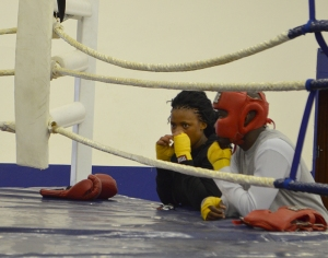 THOUGHTFUL PUNCH: Lungile Duma, left, strategises ringside. Photo: Pheladi Sethusa