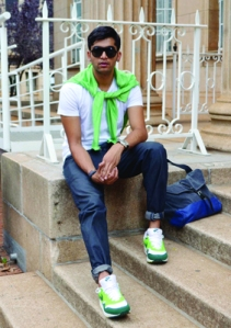 Atish sitting outside of William Cullen Library. Photo: Pheladi Sethusa