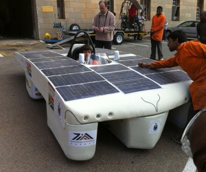 WITS SOLAR CAR: Bradley Rautenbach in the driving seat of last year's solar car.Photo: Provided