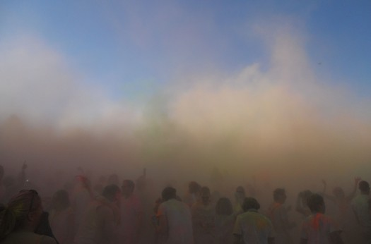 AFTERMATH: Moments after the countdown colour throw - torturous to the lungs. Photo: Pheadi Sethusa
