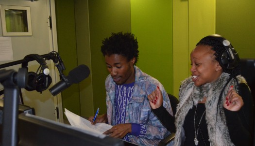 LE GOOD LIFE: Samkele Kaase and Karabo Ntshweng having fun in studio. Photo: Pheladi Sethusa