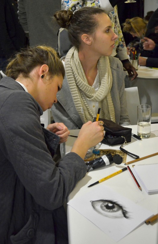 People drawing their entries for Night of 1000 Drawings which will be held later this year. Loved the eye. Photo: Pheladi Sethusa