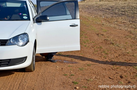 PORTABLE LOO: With no garages in sight, my car doors were turned into a restroom. Photo: Pheladi Sethusa
