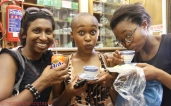 Shandukani Mulaudzi and Nolwazi Mjwara sipping on some green tea, while Dimesh Balliah sticks to Fanta Orange *side eyes*