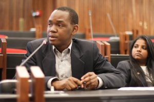 SRC President, Sibulele Mgudlwa answers a question from the audience. Photo: Pheladi Sethusa