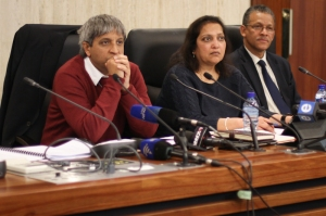 Prof Adam Habib, Kirti Menon and Prof Andrew Crouch field questions from the media. Photo: Pheladi Sethusa