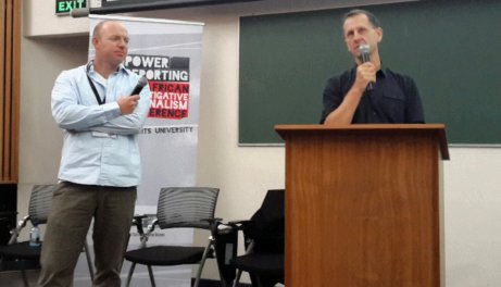 Sunday Times journalists James Oatway (left) and Stephan Hofstatter (right) shared their personal experiences on reporting in conflict areas on the continent. Photo: Prelene Singh