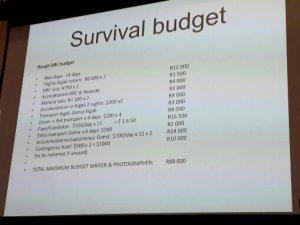 The budget that they worked on for their trip to the Democratic Republic of Congo. Photo: Pheladi Sethusa