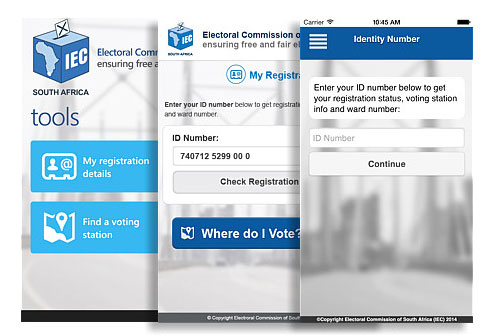 Screen grabbed photo's of the IEC SA app, available for download on both Play Store and App Store.