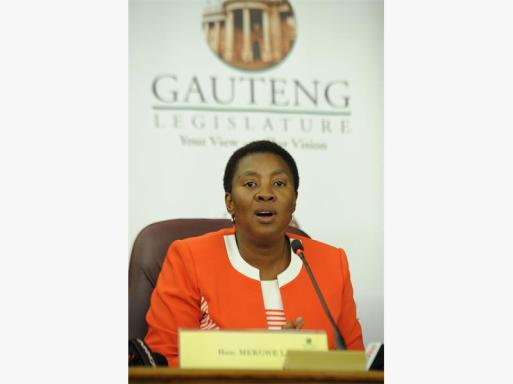 Speaker in the Gauteng Legislature Ntombi Mekgwe addresses a press briefing on the removal of EFF members from the legislature during a sitting in Johannesburg.
