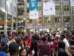 Students gathered at Senaate House concourse for the rally. Picture: Pheladi Sethusa