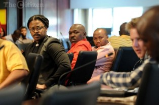 FILE PICTURE: Fired Generations actors Zolisa Xaluva, Menzi Ngubane and Mandla Gaduka look on during a press briefing at Cosatu House in Braamfontein, 15 September 2014. Picture: Refilwe Modise